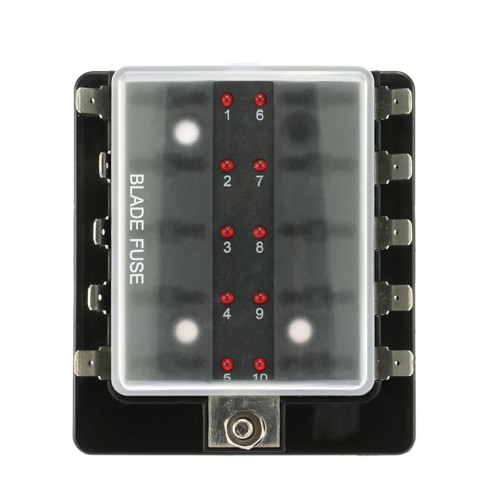 medium resolution of 10 way blade fuse box holder con kit de luz de advertencia led para auto barco