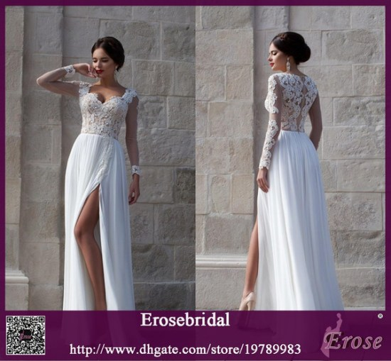 868d406202 White Beach Wedding Dresses 2015 Lace Bridal Gowns Applique Sheer Illusion  Long Sleeves Split Side Soft Chiffon Wedding Gowns Cheap