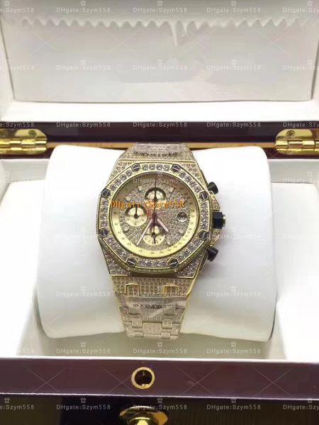 Full Diamond Man Watch High Quality Luxury Man Watch Chronograph AAA Golden Diamond Watches Waterproof Watch 42mm 316 Stainless steel