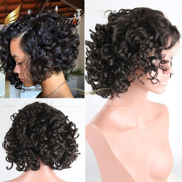 8A Human Hair Lace Wigs Bob Curly Wigs For Black Women Lace Front Wigs 100% Natural Human Hair Bella Hair