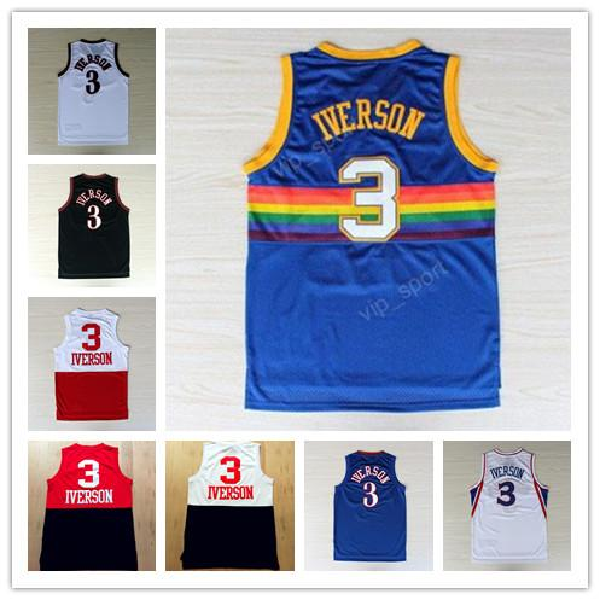 All style Rainbow #3 Allen Iverson Jersey Georgetown Hoyas Throwback I.V Basketball Jersey Mesh High School USA Dream Team jerseys