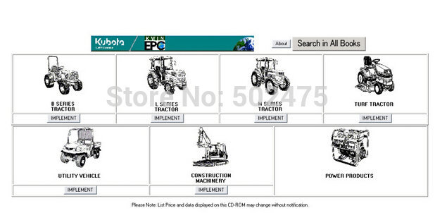 Kubota Parts Catalogue Tractors, Construction , Utility
