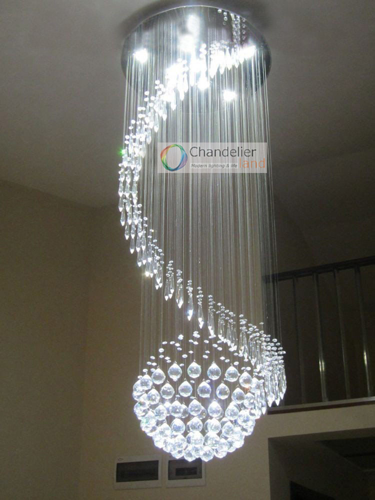 5 Lights W215 X H59 Crystal Chandelier Spiral And Sphere
