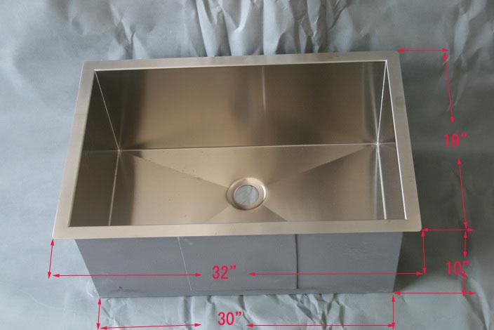 2019 32 Stainless Steel Square SINGLE BOWL Undermount