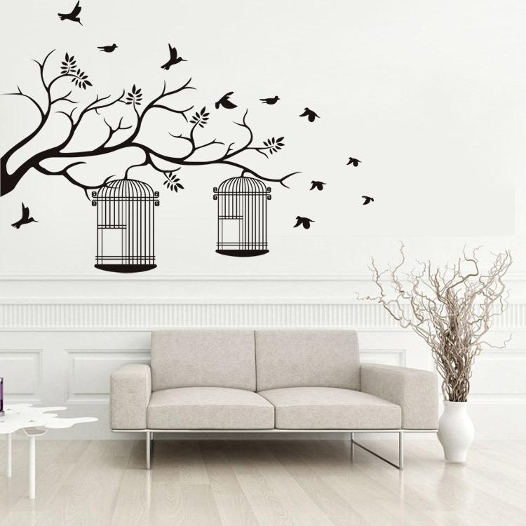 tree branches birdcage birds wall stickers living room bedroom
