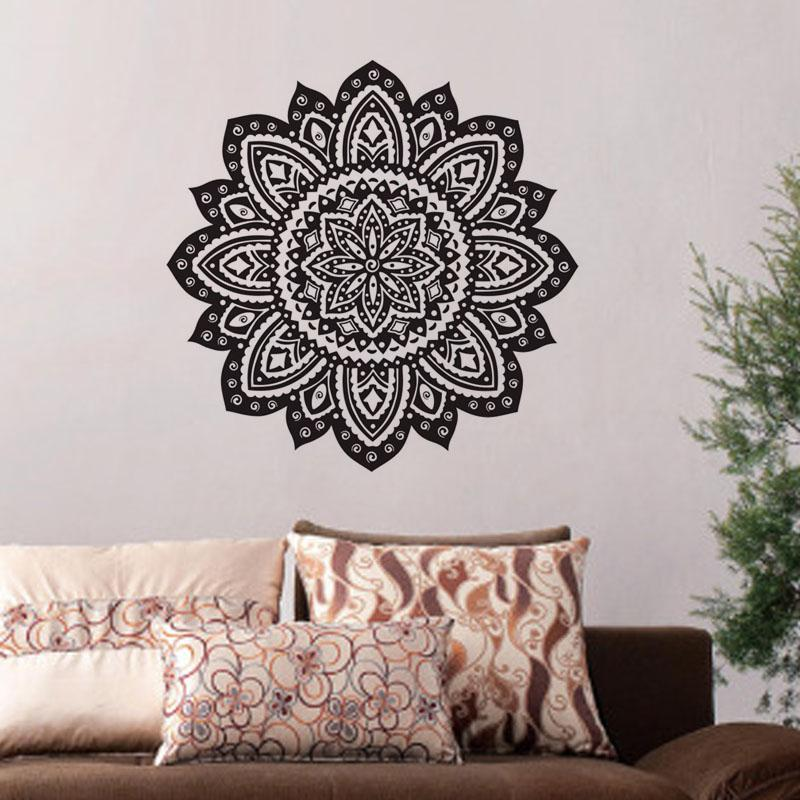 large wall stickers for living room india travertine tile indian mandala home decor removable religion flowers decals vinyl art kids