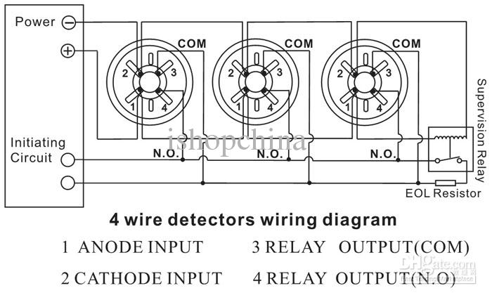 2018 Four 4 Wire Connection Points Smoke Fire Detector
