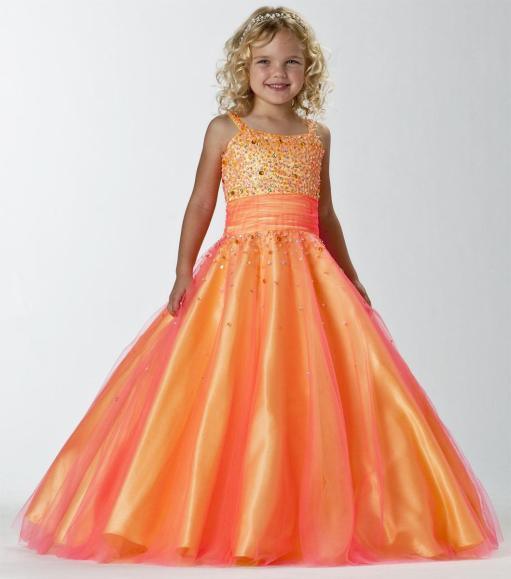orange wedding dress for girls age 10