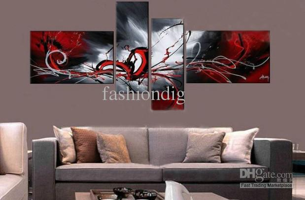 artwork for living room walls beach furniture stretched red grey contemporary abstract oil painting on ...