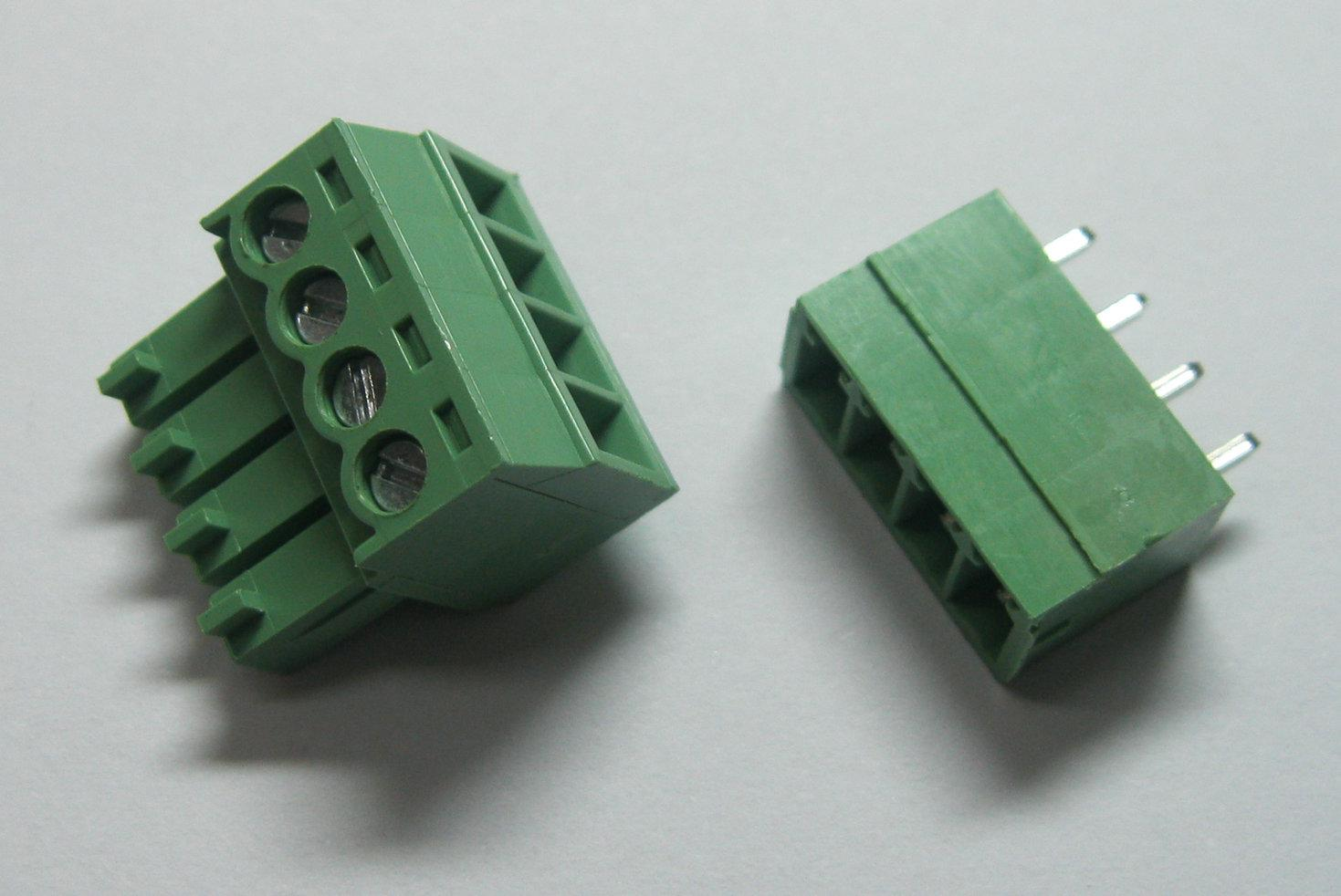 hight resolution of 4pin way pitch 3 5mm screw terminal block connector green color t type with pin