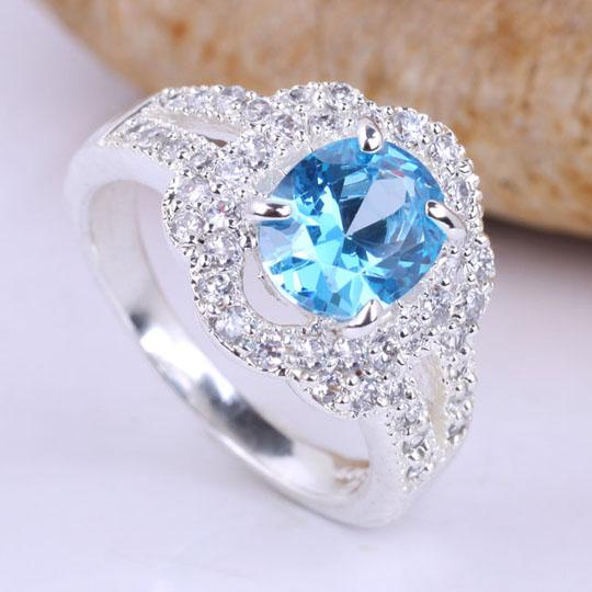 Women Oval Stone Blue Topaz Multicz Embed Silver Wedding