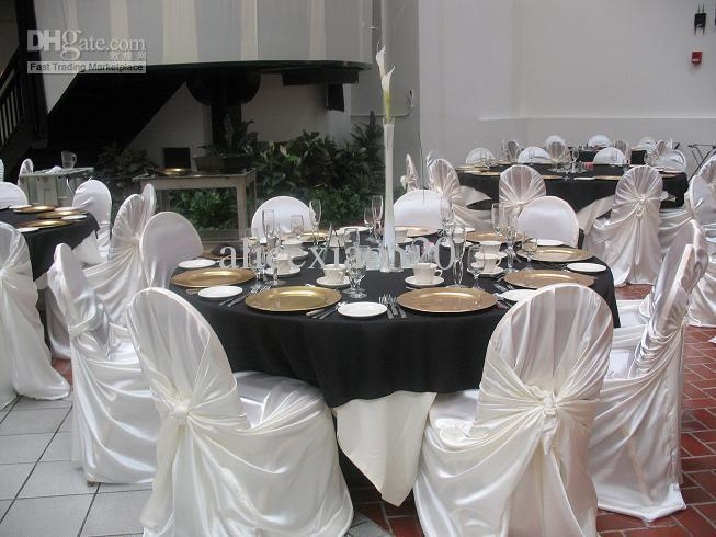 White Satin Universal Chair Cover For Wedding Party Chair