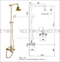 Bathroom Dual Handles Exposed Pure Copper Wall Mount ...