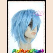 shaggy layered light blue short