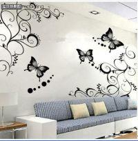Butterfly Vine Flower Wall Art Mural Stickers Decals Wall ...