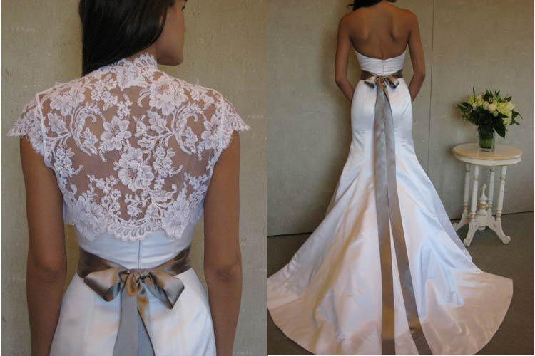 Classic Satin Trumpet Wedding Dress Gown Jacket Lace