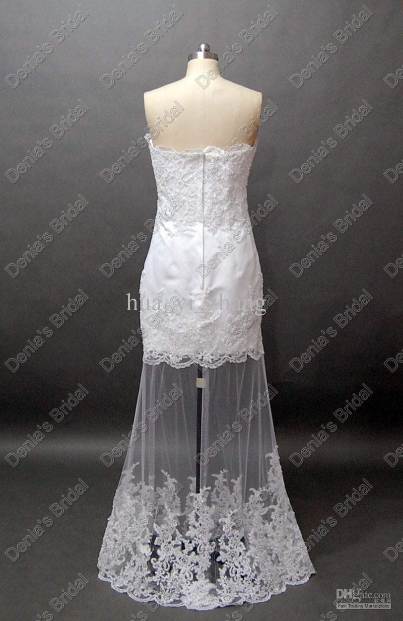 Discount Two In One Strapless Beach Lace Wedding Dress Layered Detachable Over Skirt Actual Real