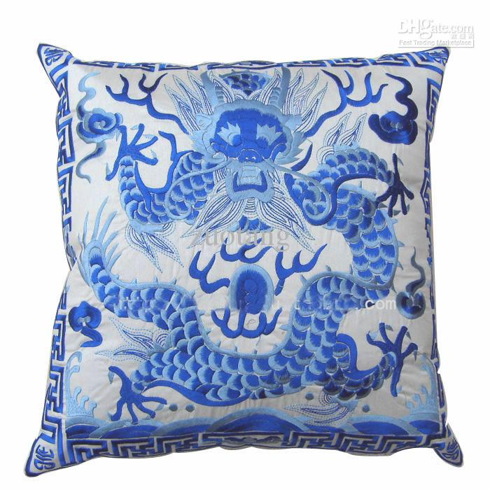 sofa cover storage bag 3 fold bed mattress india dragon full embroidery chinese cushion christmas ...