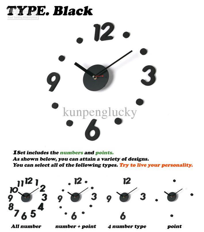 2020 DIY Modern Time Simple Room Deco Wall Clock Interior