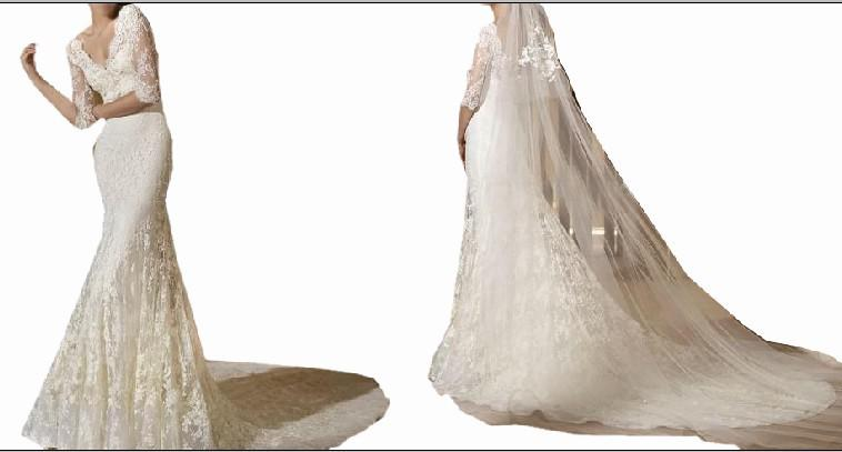 New Style Mermaid Court Train Long Sleeve Lace Wedding