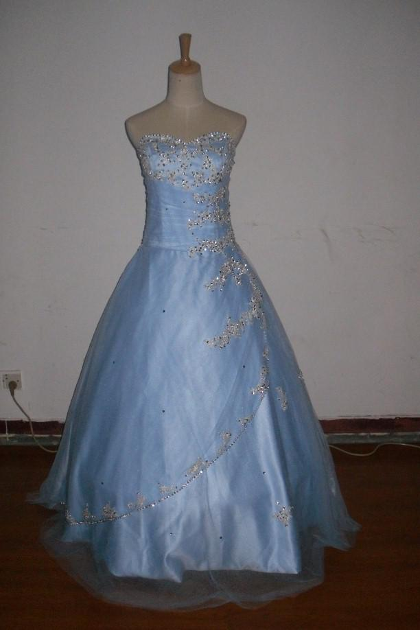 Light Blue Custom Made New Silver Embroidery Beads Tulles Princess Bride Dresses Bridesmaid