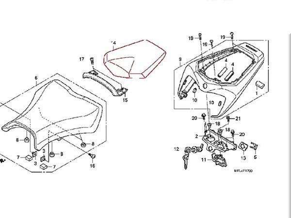 Black Pu Rear Seat Cover Cowl for Honda CBR1000RR 2008