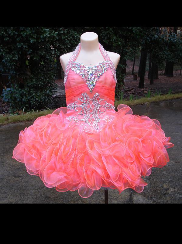 Unique Little Girls Christmas Pageant Dresses Ruffled Organza Beads Halter Children Baby Party