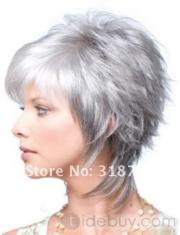 stylish short silver grey hair