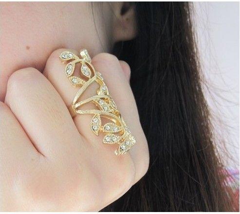 Hot Sale Gold Rings Long Blingbling Flowers Rhinestones