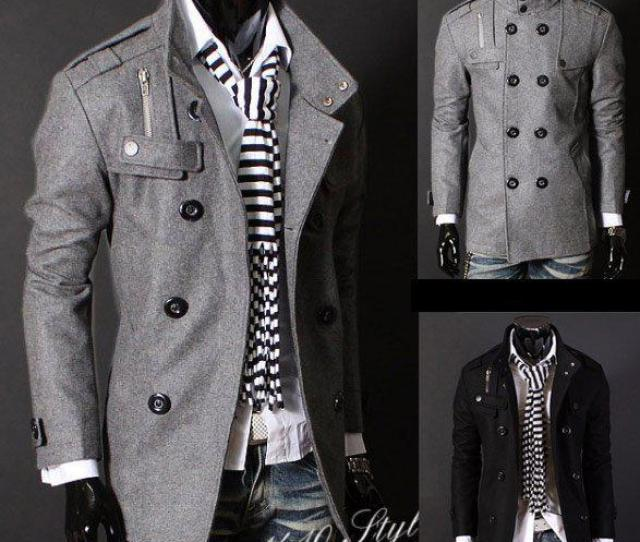 Mens Wool Trench Coat Mens Double Breasted