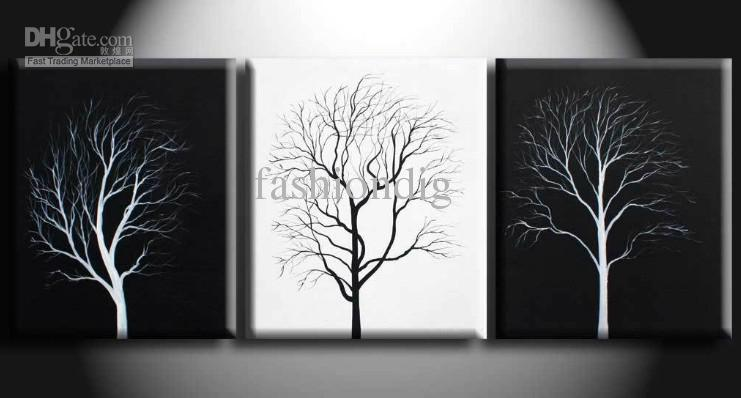 abstract wall tree black