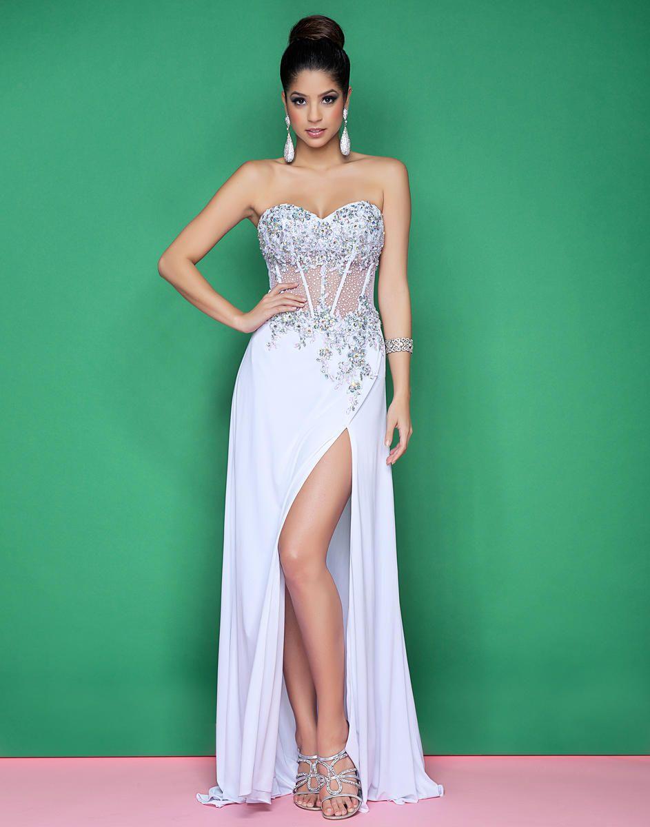 Blush 9505 Corset Bodice Sheer Prom Dresses Black High Slit Sweetheart Floor Length Applique