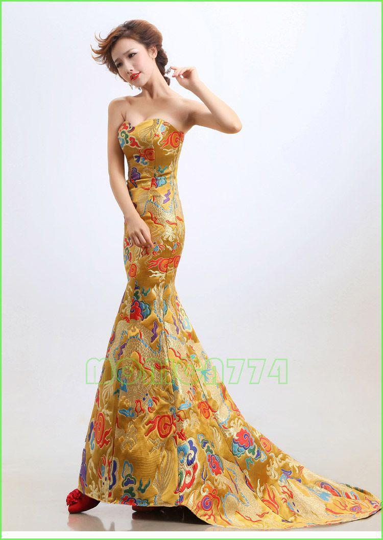 Chinese Embroidery Cheongsam Dragon Phoenix Image Mermaid Evening DressLady Party Long Prom