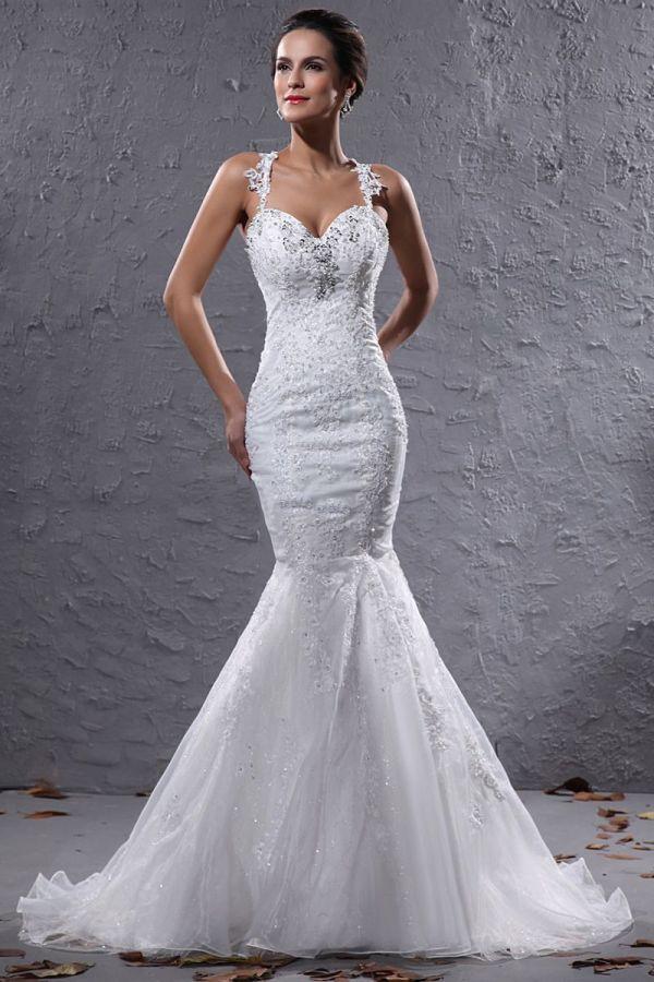 Brand Mermaid Halter Sheer Bodice Wedding