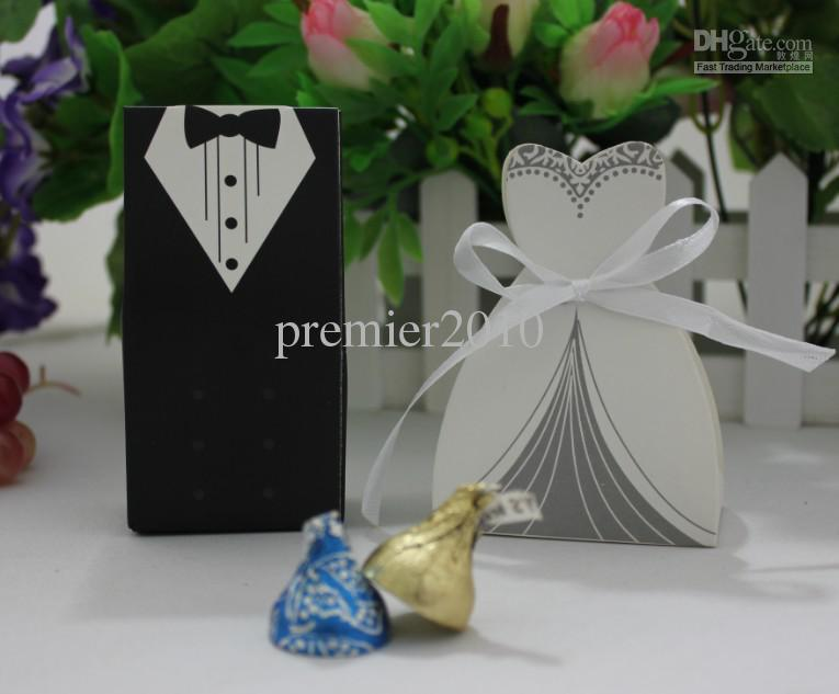 Hot TUXEDO DRESS Groom Bridal Wedding Favours Boxes Candy