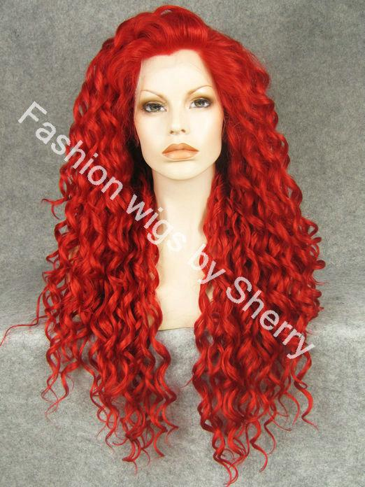 26 Extra Long 3100 Red Curly Heat Friendly Synthetic Hair Lace Front Party Wig Short Lace Wigs