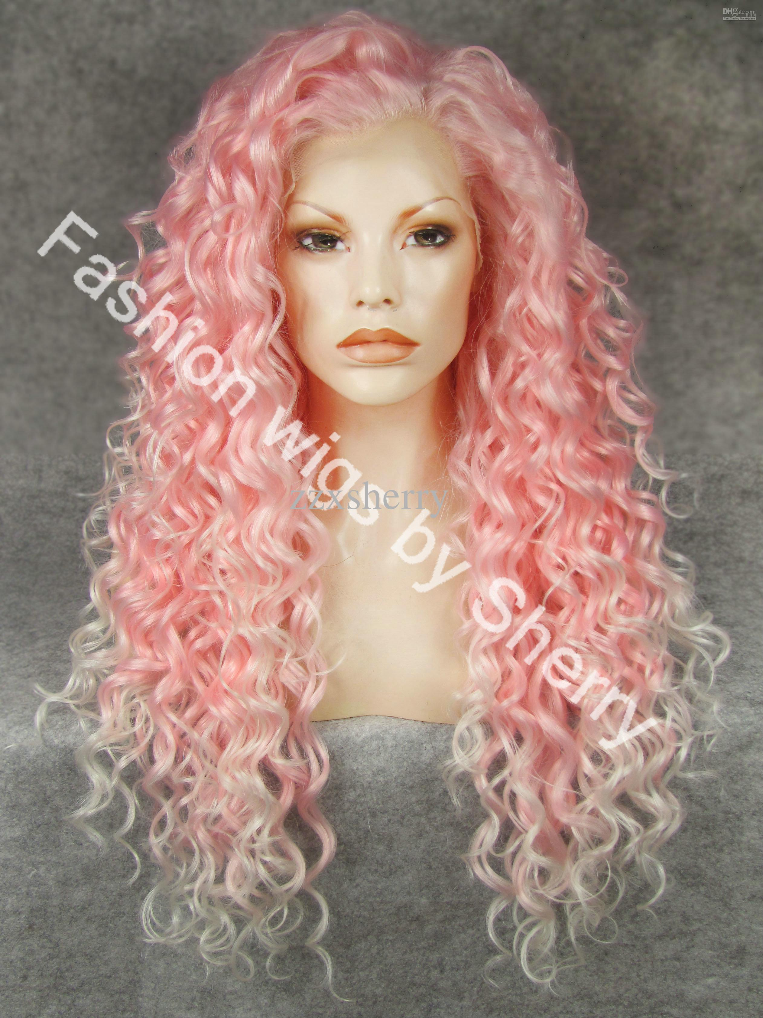 26 Extra Long 3100b1001 Pink Tip White Curly Heat