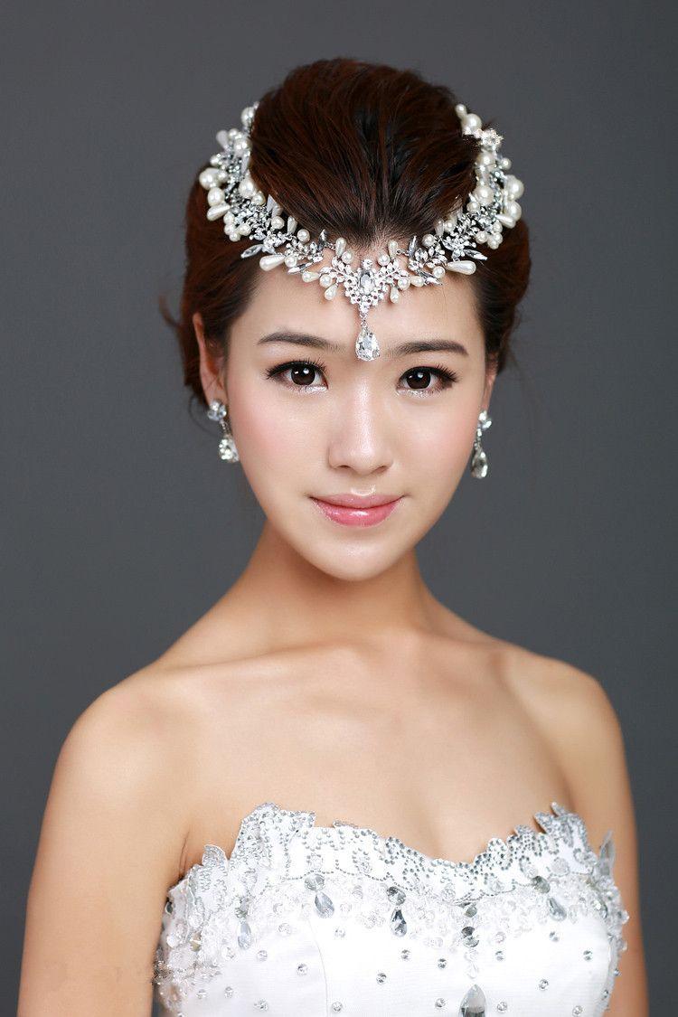 Bridal Flower Hair Comb Pieces Clear Rhinestone Crystal