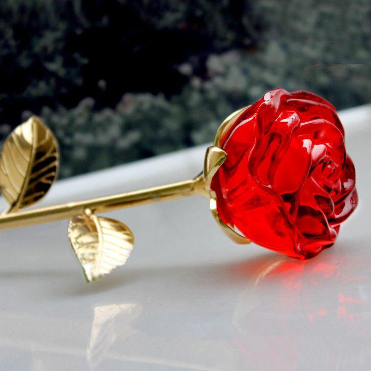Best Luxury Crystal Rose Valentines Gift Noble Long Stem