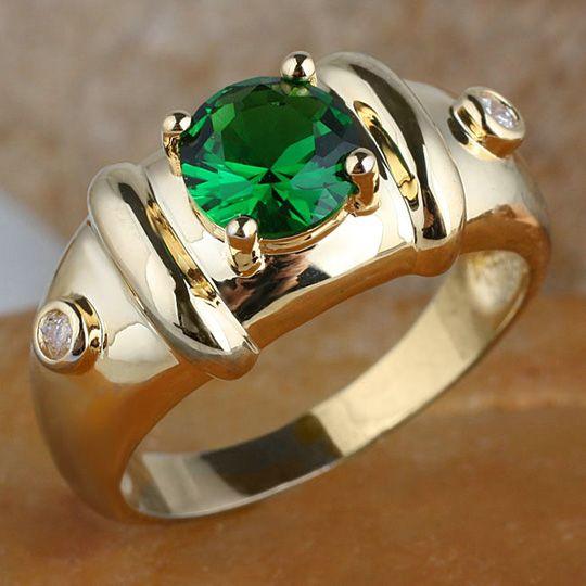 2018 Royal Mens 7mm Round Green Emerald Gold Finish
