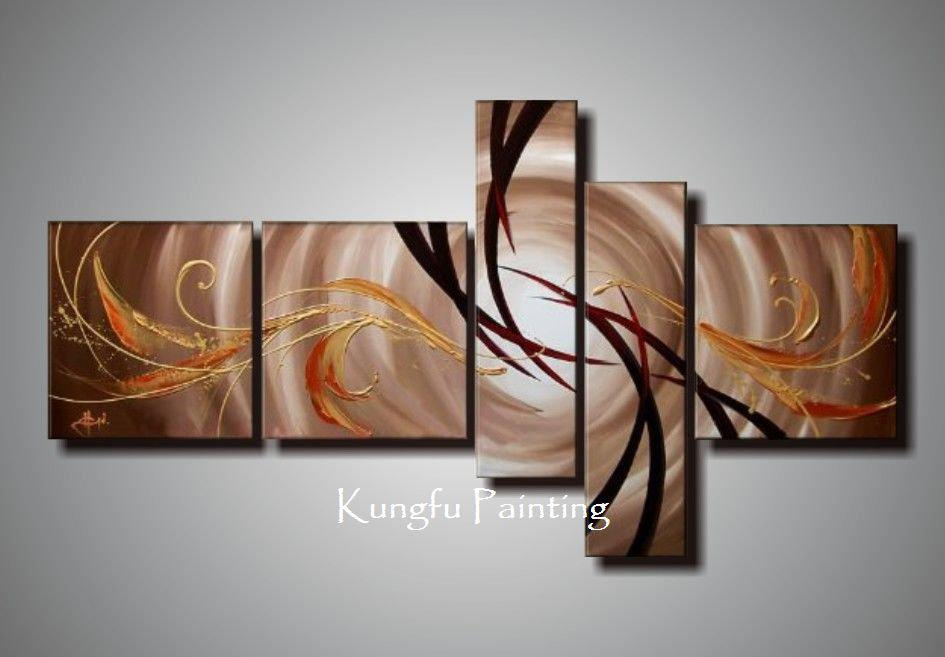 discount living room sets free shipping best artwork for 100% hand painted unframed abstract 5 panel canvas art ...