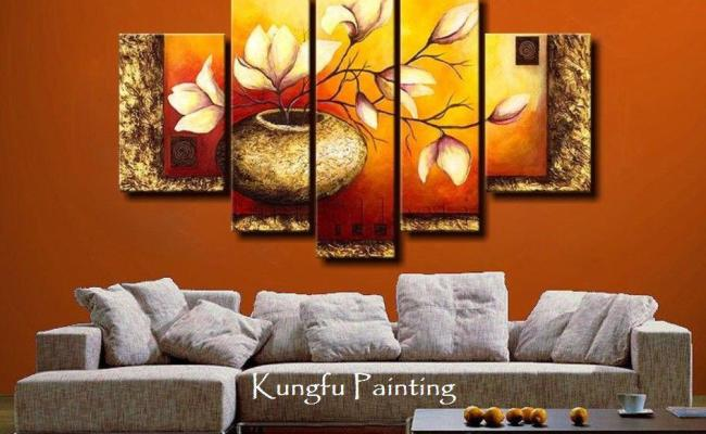 100 Hand Painted Unframed Abstract 5 Panel Canvas Art