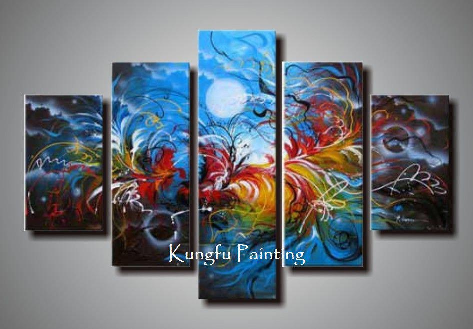 paint living room online sectionals for small rooms 100 hand painted unframed abstract 5 panel canvas art wall decor painting modern sets com5214