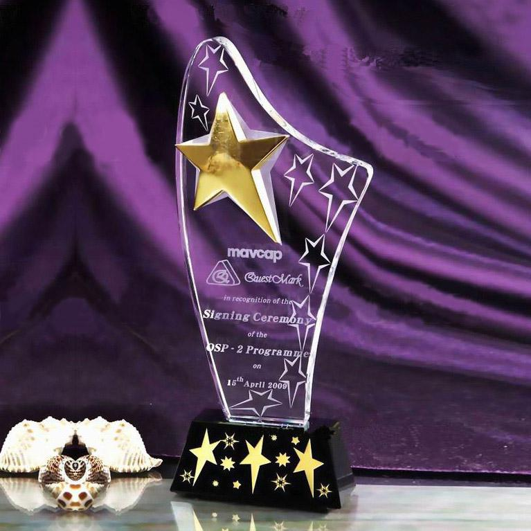 TOP Quality Optical Crystal Trophy Award Logo Print Star