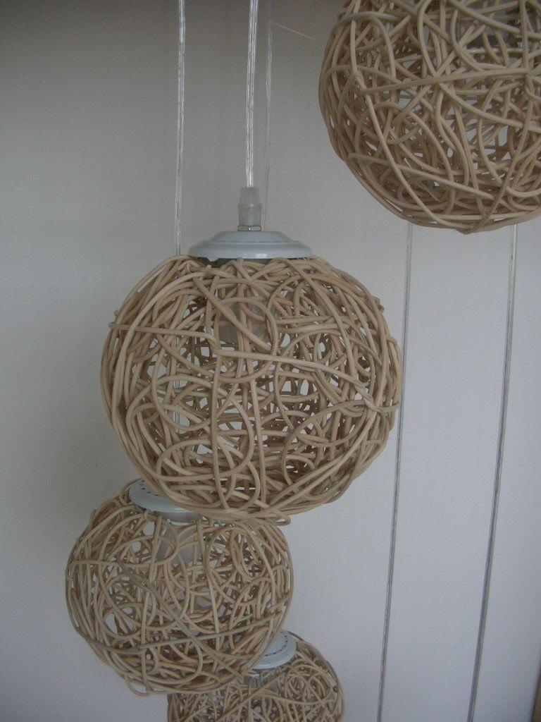 Best 6 Light Natural Rattan Woven Ball Stair Pendant Light Living Room Pendant Lamp Bedroom