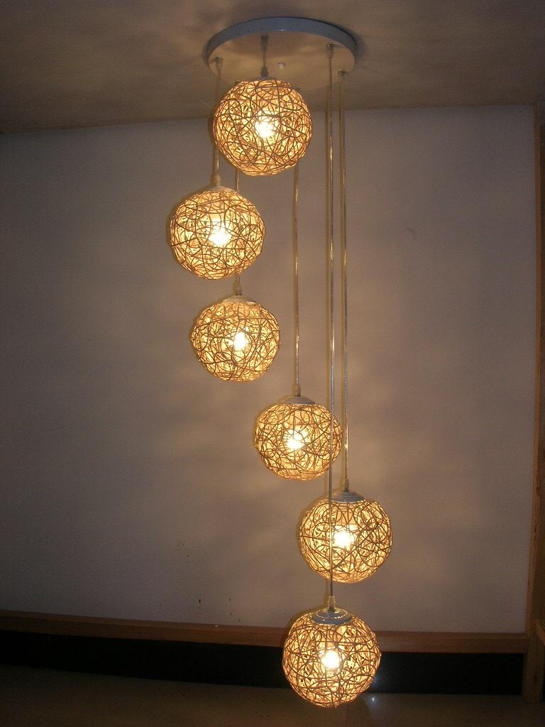 hanging light fixtures living room country wall decor 2019 6 natural rattan woven ball stair pendant lamp bedroom hallway gallery from ouovo
