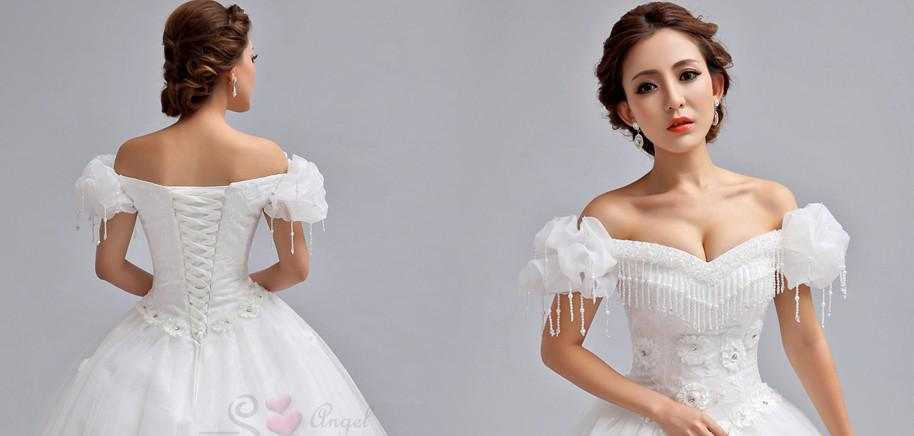 Discount 2015 New Special Off Shoulder Puff Sleeve A Line