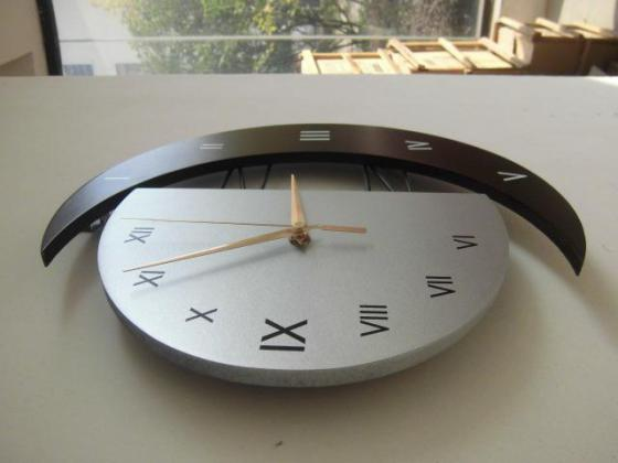 wooden creative wall clock,moon shape with Roman or Arabic numbers