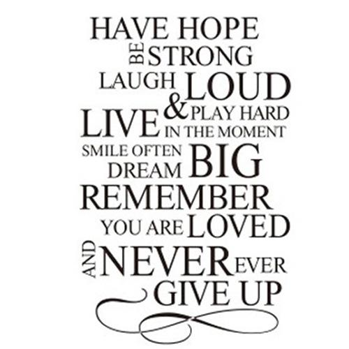 S5Q Have Hope Never Give Up Quote Vinyl Decal Removable