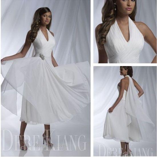 d7200281758 Robes de mariée Sexy short Beach Wedding Gowns Ivoire vente jardin 2015  licol sans manches plis a-ligne thé longueur mariage robes Womens